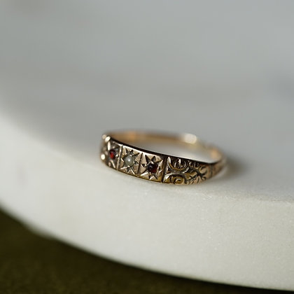 Vintage Red Stone and Faux Pearl Band