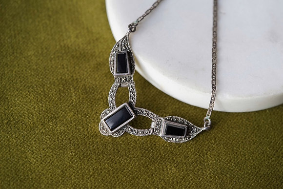 Marcasite Black Glass Necklace