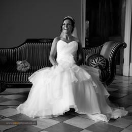Bride laughing at Wynyard Hall