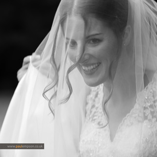 Smiling bride at her Solberge Hall Wedding