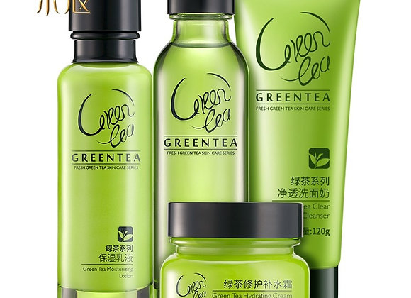 Set 4pcs Anti Aging Daily Skincare Green Tea Cleanser Toner Cream