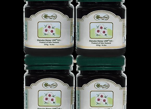Manuka Honey UMF(R)16+ 8.8oz/250g, (4 Jars ~ Trial Size