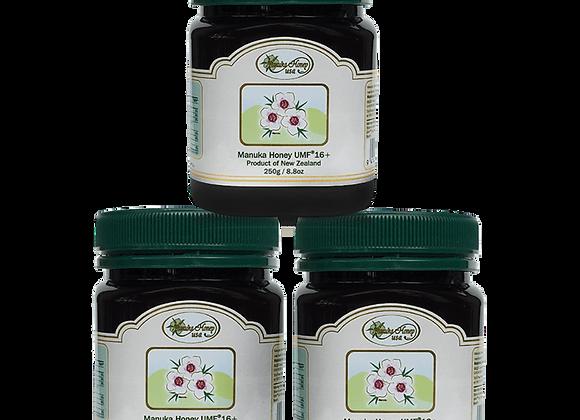 Manuka Honey UMF(R)16+ 8.8oz/250g, (3 Jars ~Trial Size