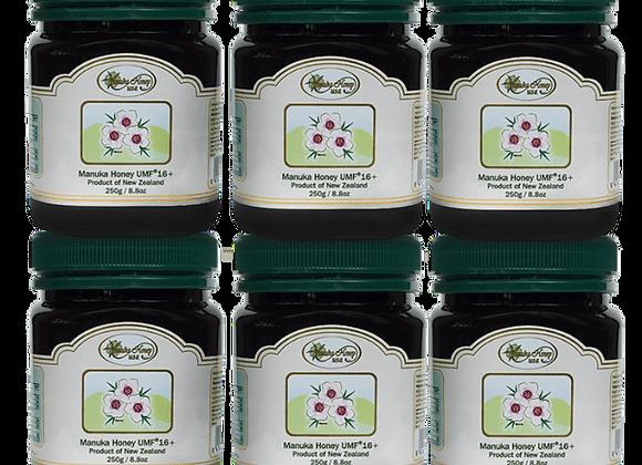 Manuka Honey UMF(R)16+ 8.8oz/250g  (6 Jars – Trial Size )