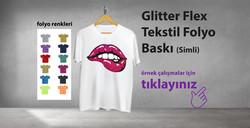 Glitter Flex Tekstil Folyo Baskı (Simli)
