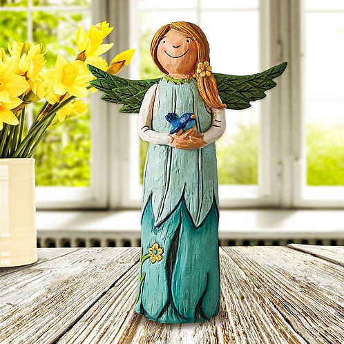 """Wings of Whimsy: Bluebird of Happiness 8"""" Angel Figurine"""