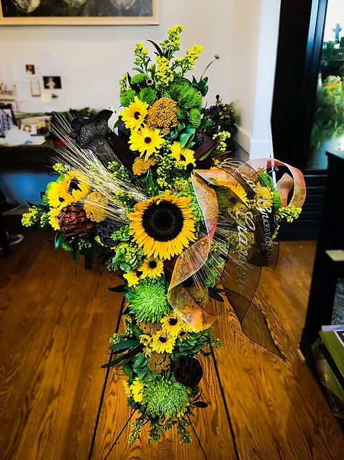 Sunflower Cross Easel Spray