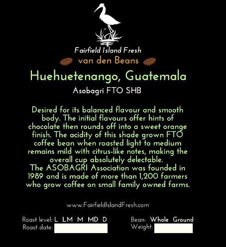 Fresh roasted coffee, Fair trade Organic, from Huehuetenango.