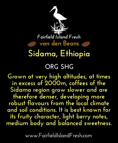 Ethiopian coffee from the Sidama region : Whole/Ground