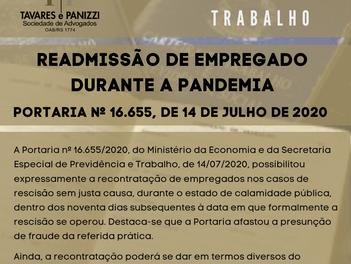 READMISSÃO DE EMPREGADO DURANTE A PANDEMIA - PORTARIA Nº 16.655, DE 14 DE JULHO DE 2020