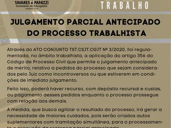 JULGAMENTO PARCIAL ANTECIPADO DO PROCESSO TRABALHISTA