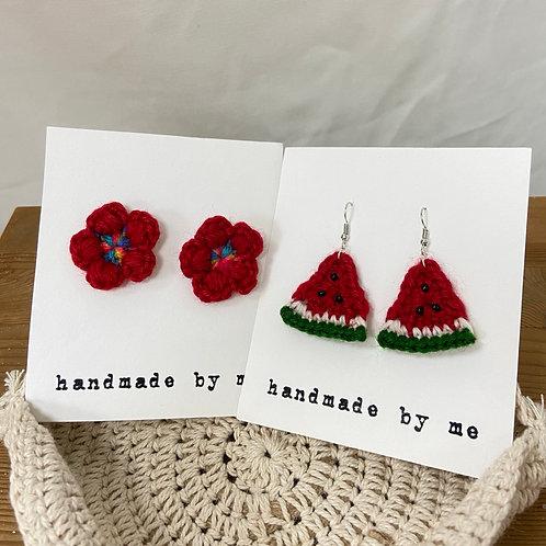 [Wool] Crochet earrings Hooks&Charm-G
