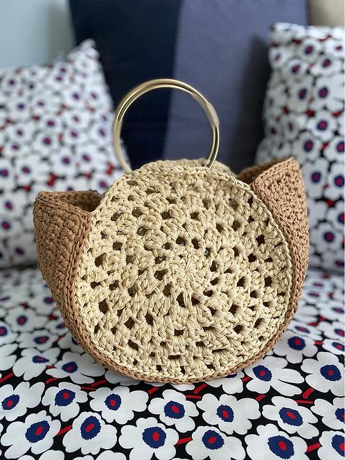 [Raffia] Ring top handle straw Round bag