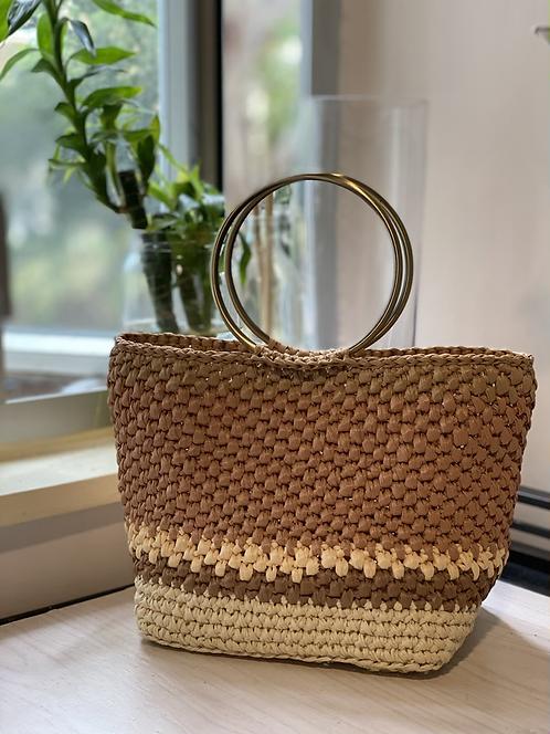 [Raffia] Ring top handle straw bag