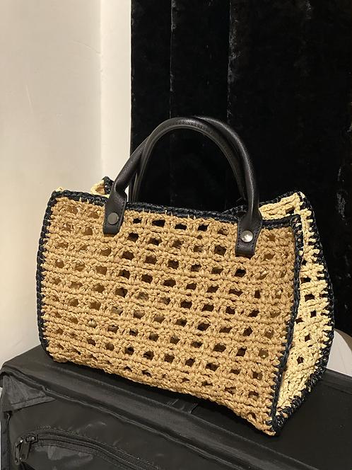 [Raffia] Leather handle straw bag