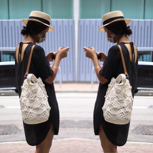 [Cotton] Bucket Carry Bag/Leather Starp Shoulder Bag