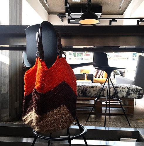 [Hemp] Leather handle Tulip Bag