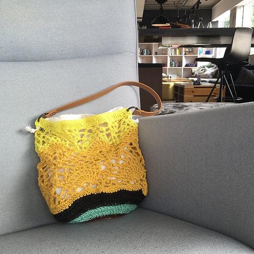[Hemp] Leather handle Shoulder Bag