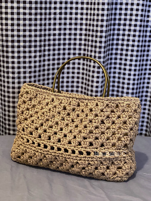 [Raffia] D-ring top handle straw bag