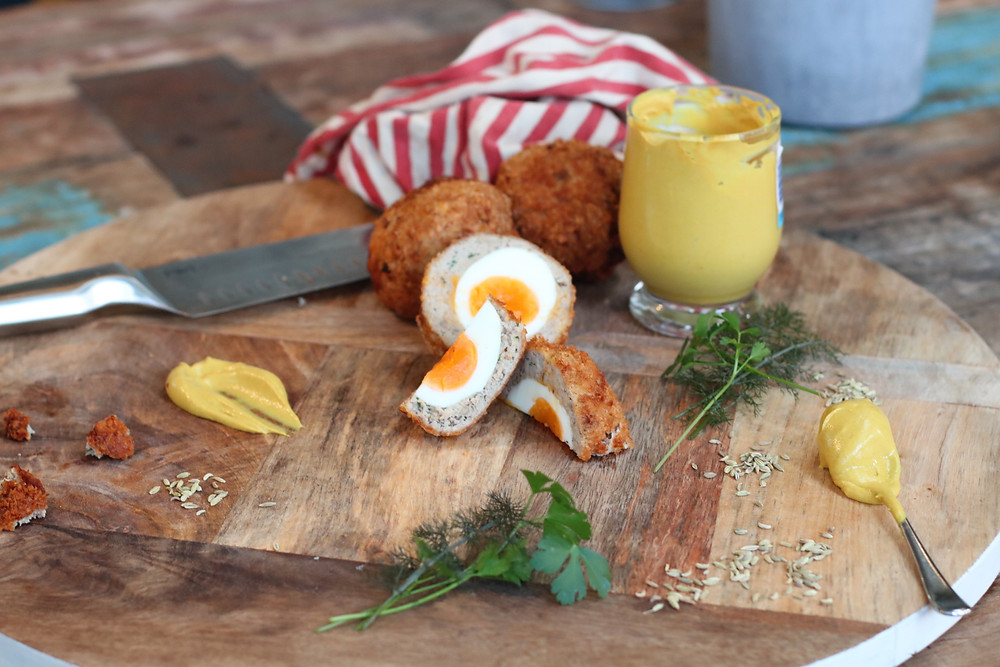 fennel & mustard scotch eggs