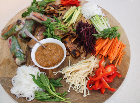 Veggie Rice Paper Rolls, With Sticky Mushrooms and Peanut Dipping Sauce