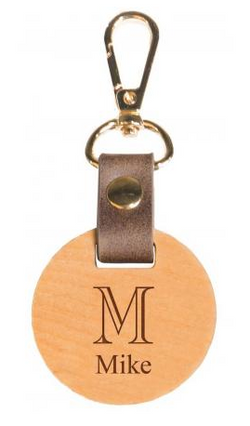 circle wood keychain