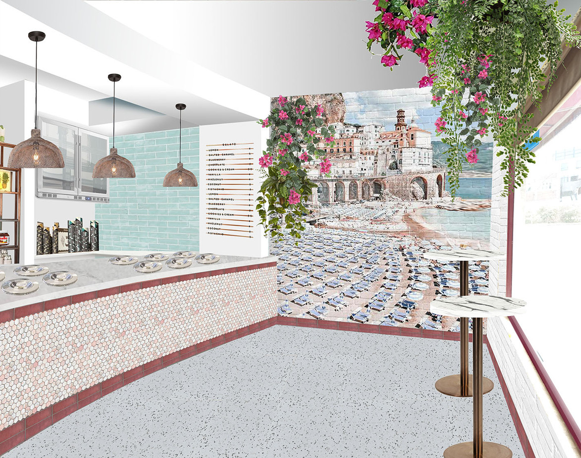Gelato store interior render - west elevation