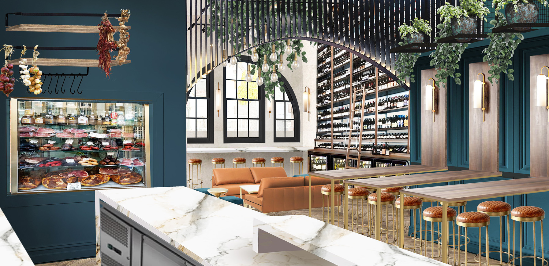 Wine bar interior render - east elevation