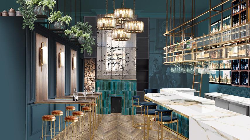 Wine bar interior render - west elevation