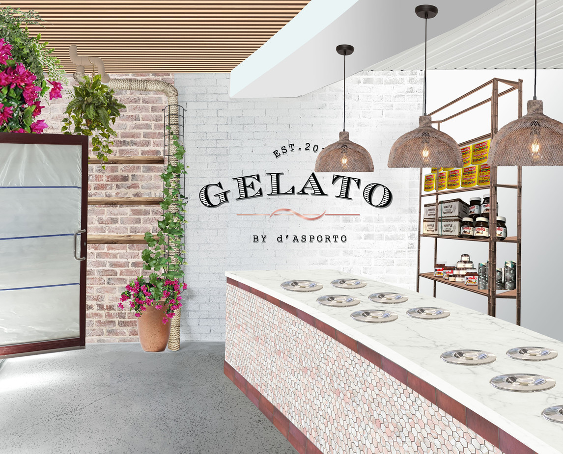 Gelato sotre interior render - east elevation