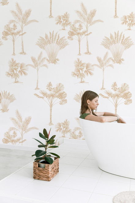 Palm Wallpaper in Almond Buff