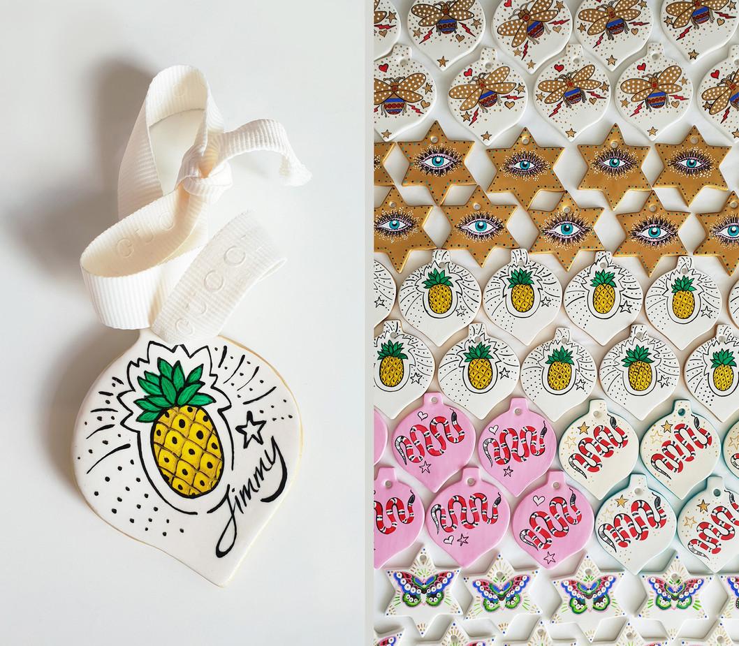 Custom painted and personalised festive season ornaments