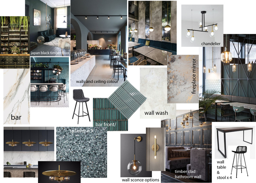 Selections storyboard for wine bar interior