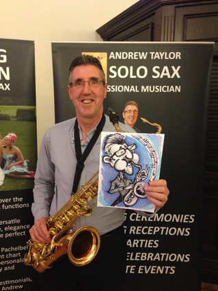 One sexy saxophonist what a mouthful! with @SoloSaxophone, @DawnMarieWed at @DoxfordHall  #caricatur