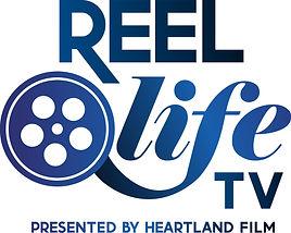 REEL LIFE TV LOGO stacked blue gradient.
