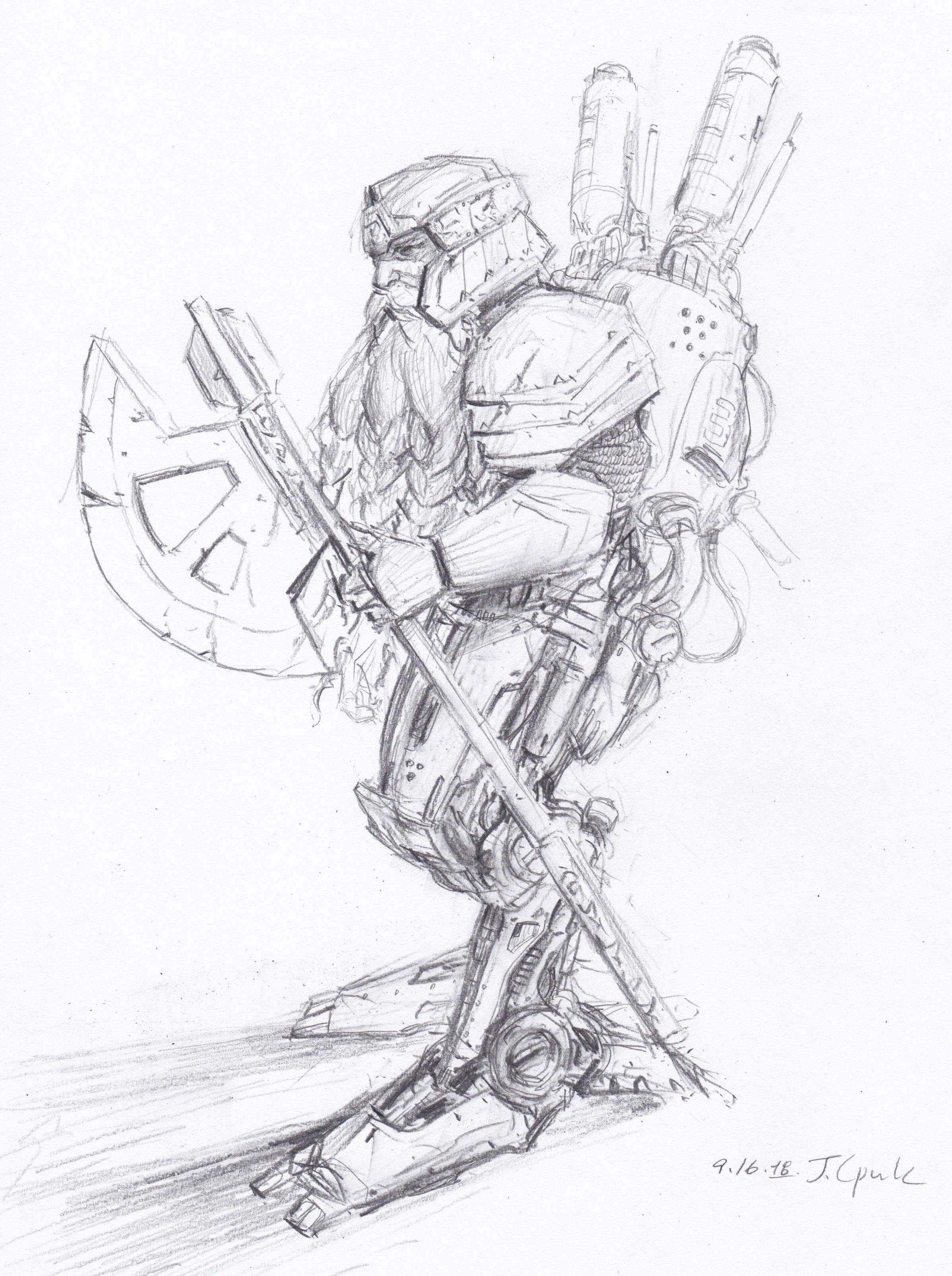 pencil - mech Dwarf