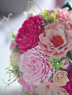 牡丹玫瑰薔薇黏土花束