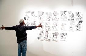Ces' aires, performance vocale, exposition Porteurs de Mots Galerie Theodoro Braga de Belém. Photo Bruno Pellerin
