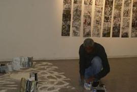 performance d instauration , installation livres sculptures, photo Bruno Pellerin