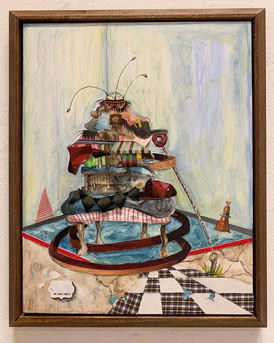 Nyugen Smith, Bundle House, mixed media et collage sur bois, 2019