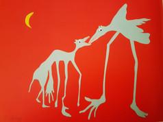 Ronald Cyrille, série full & cuts, Bipopie 1, diptyque, papiers découpés, collages ,crayons de couleurs sur papier Canson de couleur, 50 X 70 cm, 2014. Photographie Daniel Dabriou