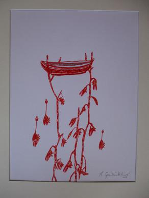 La mangrove, dessin, feutre rouge sur pa