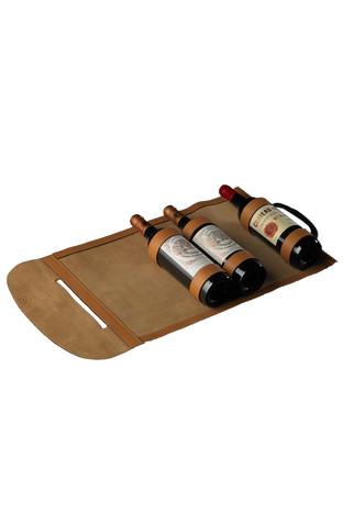 Serviette cuir pour 3 bouteilles