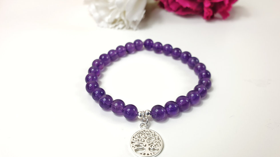 Amethyst and sterling silver tree of life bracelet