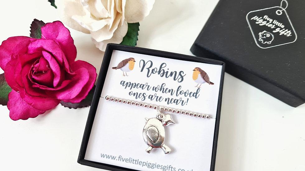 Robin and mini heart gift bracelet