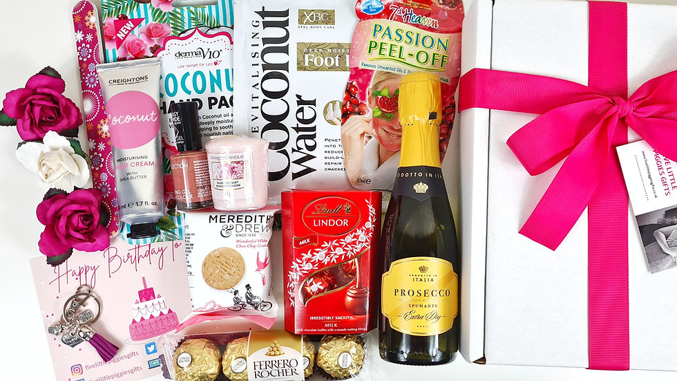 Happy Birthday Pamper gift box with fizz