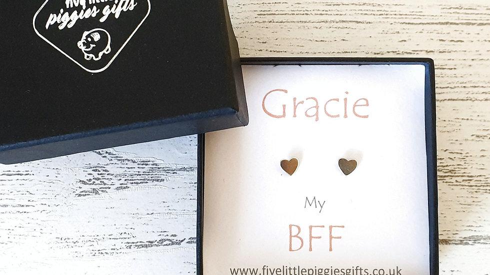 Personalised best friend gift boxed heart stud earrings