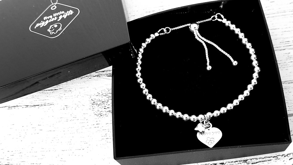 Sterling silver bead I love you slider bracelet