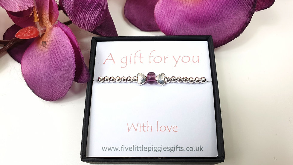 Purple bow gift bracelet