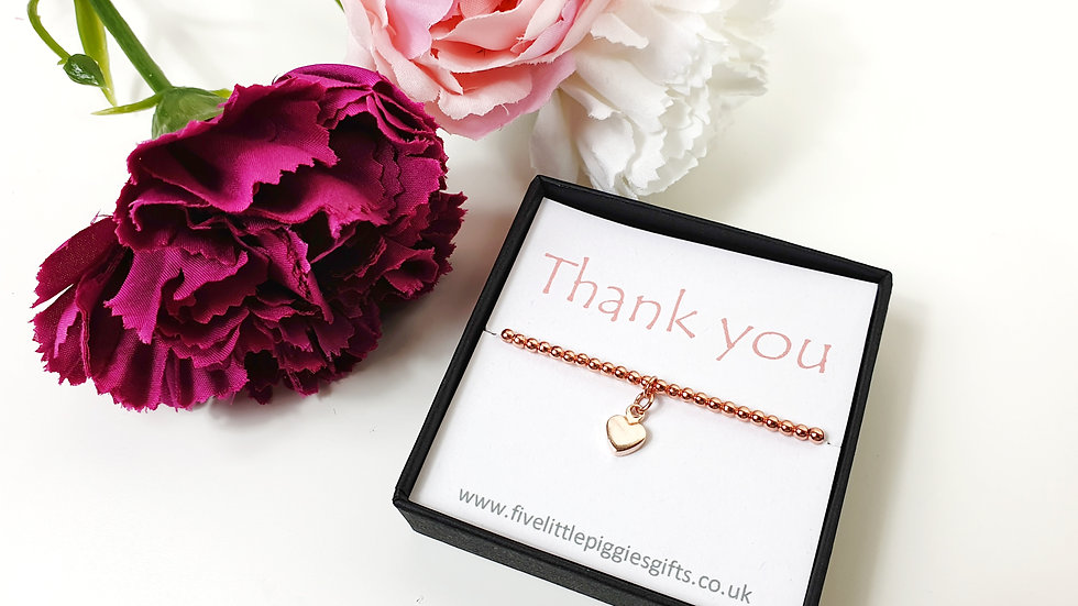 Thank you rose gold gift bracelet - heart